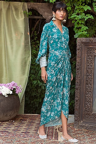Teal Blue Printed Draped Dress by Chhavvi Aggarwal