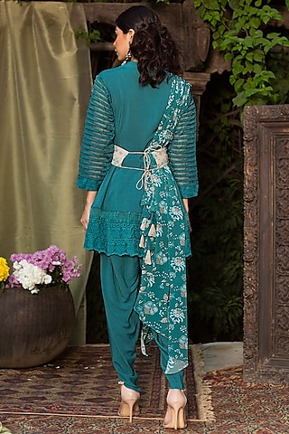 Teal Blue Tunic Set by Chhavvi Aggarwal
