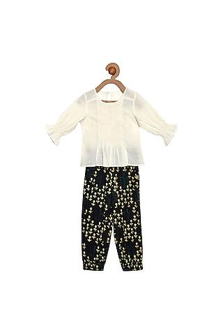 Cream & Black Pant Set by Charkhee Kids