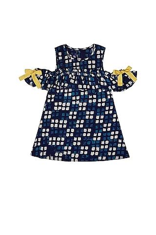 Blue Ruffled Cold Shoulder Dress by Charkhee Kids