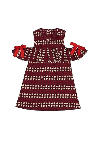 Maroon Ruffled Cold Shoulder Dress by Charkhee Kids