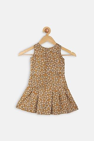 Mustard Printed Dress by Charkhee Kids