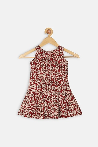 Red Printed Dress by Charkhee Kids