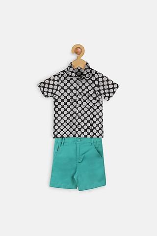 Black & Green Printed Shirt Set by Charkhee Kids