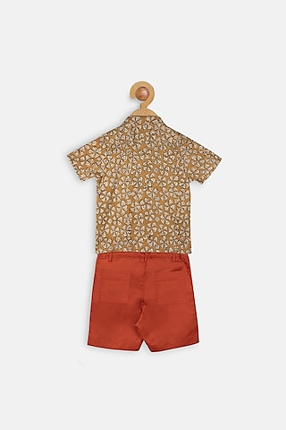 Mustard & Red Printed Shirt Set by Charkhee Kids
