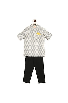 White & Black Printed Kurta Set by Charkhee Kids