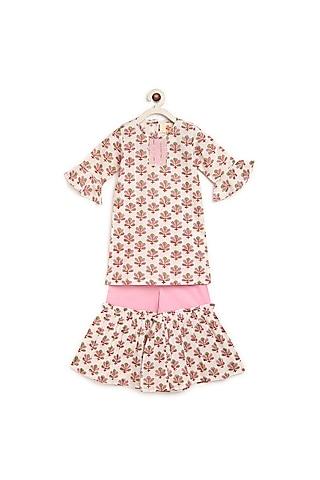 Pink Block Printed Sharara Set by Charkhee Kids