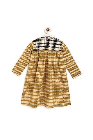 Mustard Printed A Line Dress by Charkhee Kids