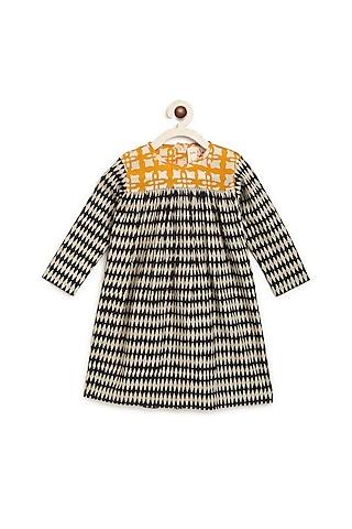 Black Printed A Line Dress by Charkhee Kids