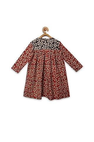 Red Printed Floral Dress by Charkhee Kids