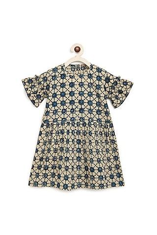 Beige Block Printed Dress by Charkhee Kids