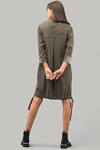 Military Green Hand-Stitched Mini Dress by Chillosophy