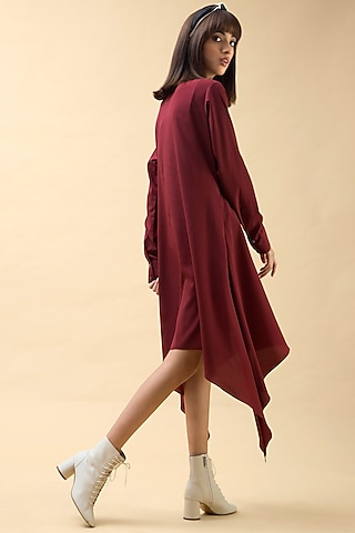 Deep Red Tunic With Handmade Buttons by Chillosophy