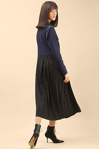 Dark Blue Hand-Stitched Midi Shirt Dress  by Chillosophy
