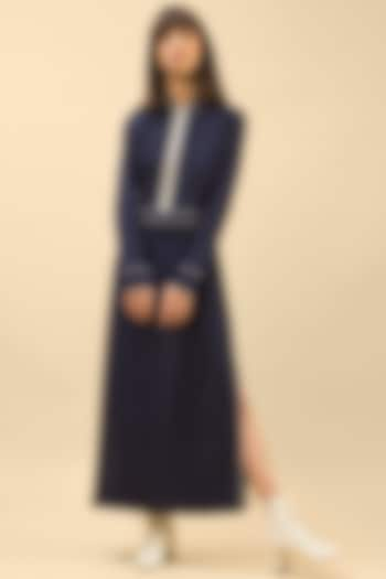 Dark Blue Midi Dress With Side Slit by Chillosophy