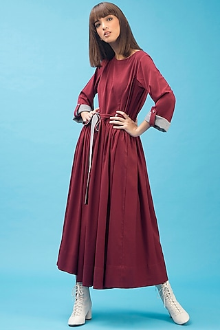 Deep Red Maxi Dress With Handmade Buttons by Chillosophy