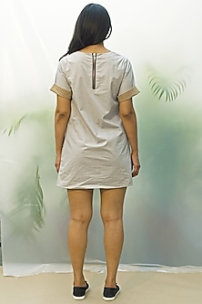 Grey Shift Dress With Ruching by Chillosophy