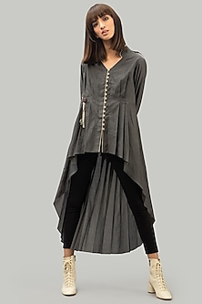Grey Shirt Dress With Pleats by Chillosophy