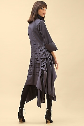 Grey Jacket Dress With Pleats by Chillosophy