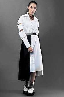 White Shirt Dress With Cut Out Sleeves by Chillosophy