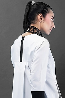 White Tunic With Leather Detailing by Chillosophy