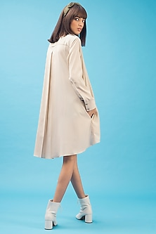 Beige Shirt Dress With Shoulder Straps by Chillosophy