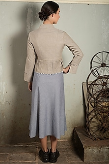 Beige Short Jacket With Pleats by Chillosophy