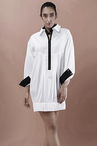 White Shirt Dress With Elasticated Bottom by Chillosophy