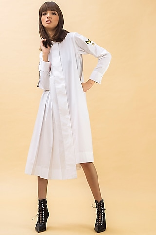 White Pleated Shirt Dress by Chillosophy