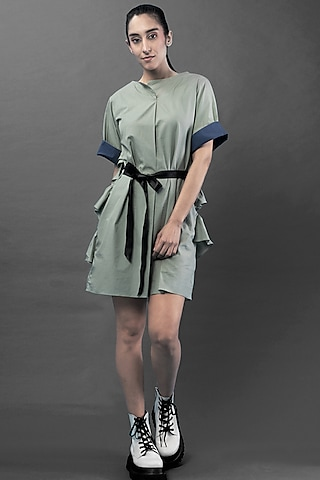 Mint Green Knee Length Dress by Chillosophy