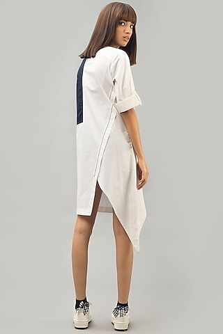 White Color Blocked Tunic by Chillosophy