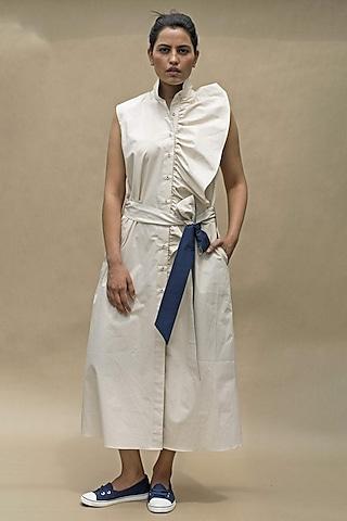 Beige Sleeveless Poplin Dress by Chillosophy