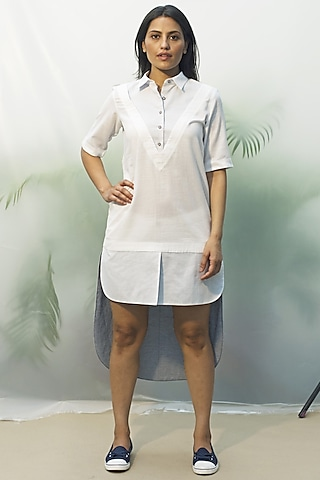 White Origami Poplin Tunic by Chillosophy