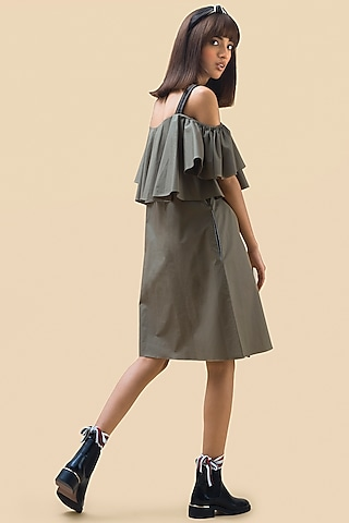 Olive Green Off Shoulder Dress by Chillosophy