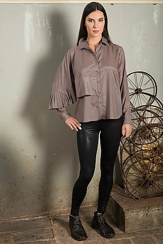 Brown Cotton Silk Shirt by Chillosophy