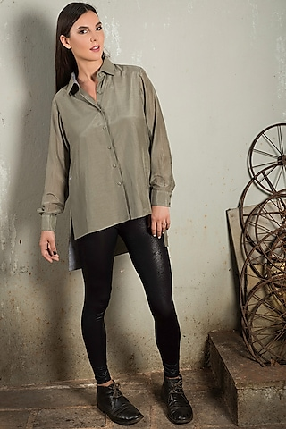 Olive Green Cotton Silk shirt by Chillosophy