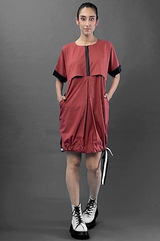 Red Mini Poplin Dress by Chillosophy