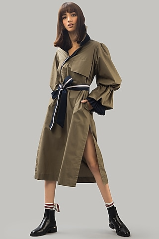 Olive Green Trench Dress by Chillosophy