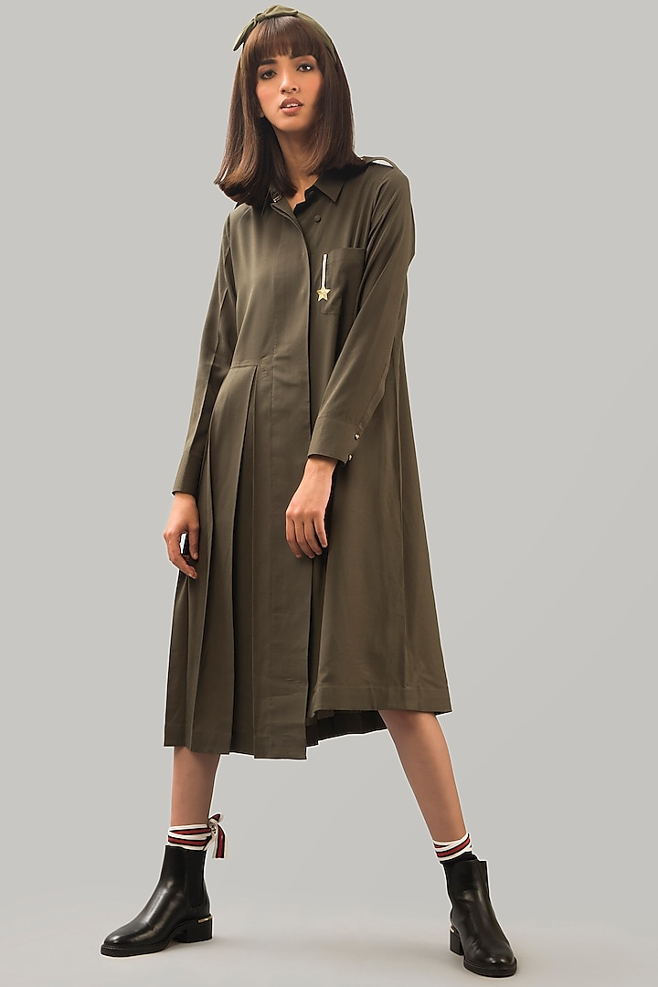 Olive Green Shirt Dress by Chillosophy