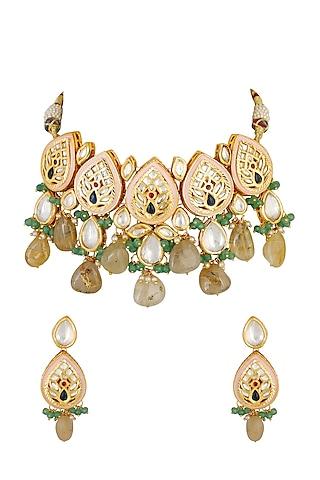 Gold Finish Kundan Choker Necklace Set by Chhavi'S Jewels