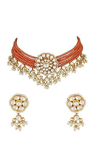 Gold Finish Kundan Necklace Set by Chhavi'S Jewels