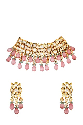 Gold Finish Choker Necklace Set by Chhavi'S Jewels