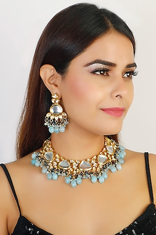 Gold Finish Necklace Set by Chhavi'S Jewels