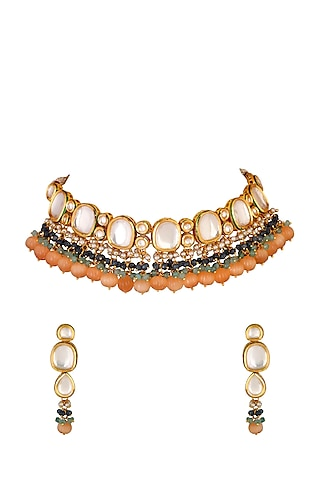 Gold Finish Choker Necklace Set With Kundans by Chhavi'S Jewels