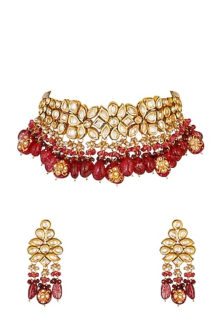 Gold Finish Necklace Set With Kundans by Chhavi'S Jewels