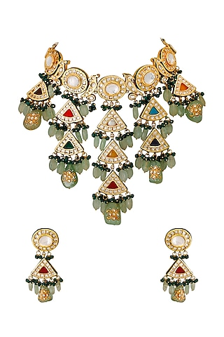 Gold Finish Ethnic Choker Necklace Set With Kundans by Chhavi'S Jewels
