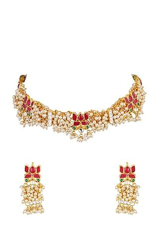 Gold Finish Ethnic Necklace Set With Kundans by Chhavi'S Jewels
