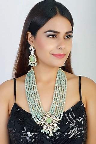 Gold Finish Long Necklace Set by Chhavi'S Jewels