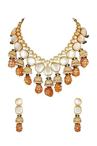 Gold Finish Kundan Long Necklace Set by Chhavi'S Jewels