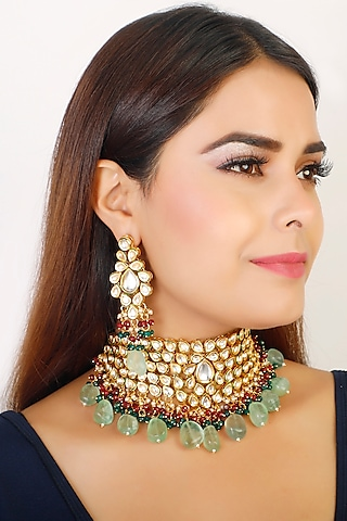 Gold Finish Ethnic Necklace Set by Chhavi'S Jewels